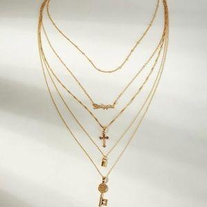 Cross & Lock Multi Layered Pendant Necklace